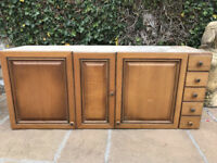 Old Pine Wall Mounted Cupboard With Drawers