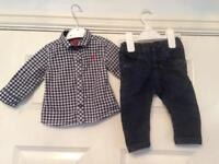 3-6 months NEXT baby boy shirt and jeans