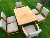 Vintage GORDON RUSSELL Dining Table & 6 chairs, 1940s - Solid oak