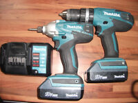 18v Makita Cordless Drill, Impact Gun, Charger + 2 Batteries Great Condition! Cost £220!