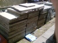 53 2ft x2 ft paving flags and 48 building blocks for sale