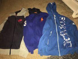 Boys age 10 -12 three original zip up hoodies. (Nike, Adidas & Polo Ralph Lauren)