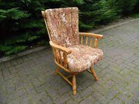 Solid Beech Swivel & Rock Vintage Chair