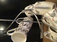 Mugsx6 Porcelaine Chicken prints+Stand