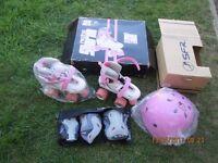 SFR Skates, SFR Essential helmet and Essential Triple pads set- PINK Girls
