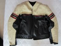 Furygan soft gents leather café racer retro style jacket, size XL, black with cream/red panels