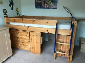 Kid's mid height pine bed with mattress, with pull out desk, under-bed chest of drawers