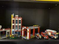 Lego fire station mini figures and vehicles