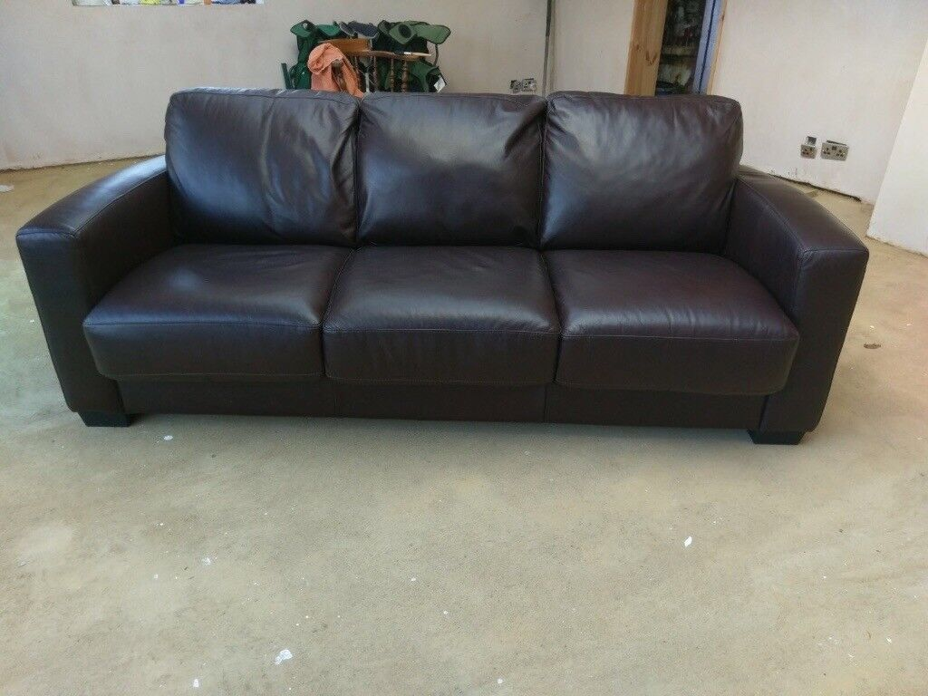 Brown leather sofa bed, three seater settee