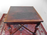 Vintage Solid Oak Drawer-Leaf Table