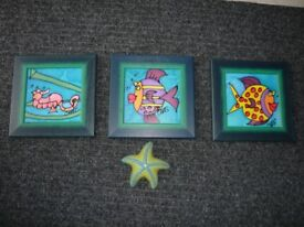 SET OF 3 TILE PICTURES BY CHAS. + A STARFISH.