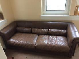 Brown leather sofa
