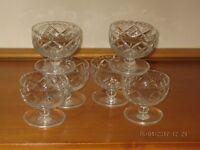Crystal Cut Glass Sundae Dishes