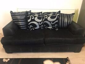 Black fabric 3 seater and 2 seater! Excellent condition!