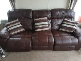 Leather electric recliner 3 seat sofa