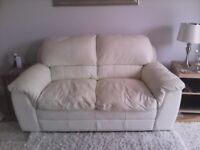 2 seater sofa plus armchair cream leather excellent condtion