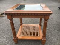 Wood coffee table wicker shelf bevelled glass top