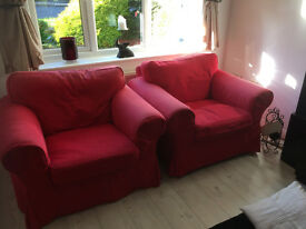 Red Ikea Ektorp Sofa and 2 armchairs