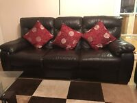 Very good condition Harveys Three Seater Brown Leather Sofas £450