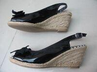 Black wedges sandals, size 6