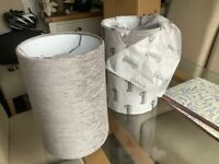 Dove grey fabric cylinder lampshades - brand new in box