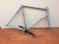 """Vintage 1987 BSA Racer Road Bike Steel Frame & Forks Pale Blue 58.5cm 23"""" Plus crank set"""