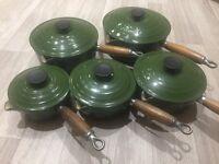 Green Le Creuset pan set