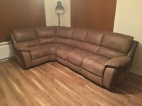 Pristine brown leather dual electric reclining sofa