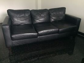 Black 2 & 3 piece leather sofas for sale.