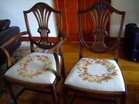 4 dining chairs and 2 carvers, reproduction, wheat sheaf design, tapestry seats.