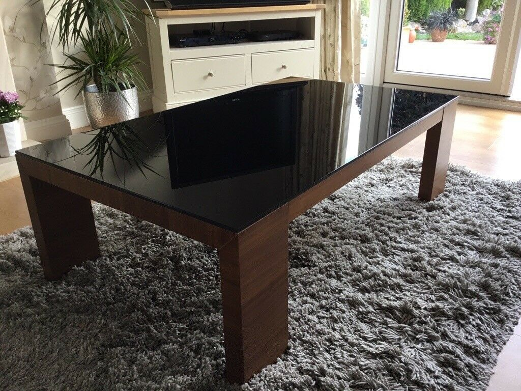 Dansk Walnut Veneer And Black Gl Coffee Table