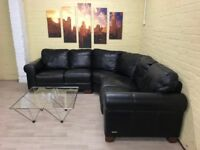 Sofitalia Black Leather Corner Sofa