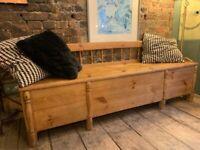 Antique bench with chest storage beneath