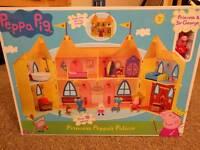 Brand new peppa Pig princess Peppa's palace with glitter