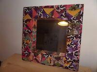 Large colourful unique mirror - textile square frame (60cm)