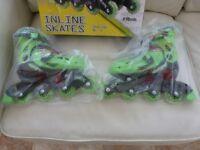CHILDS ELEKTRA INLINE SKATES GREEN ADJUSTABLE SHOE SIZE 13J-3 BRAND NEW IN BOX