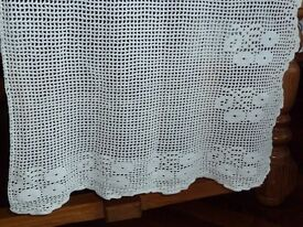 Door Curtain, crochested in white cotton