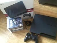 PS3 slim console 160gb 8 games & controller