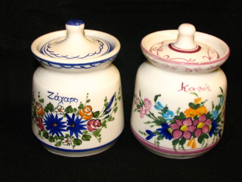Russia Porcelain Hand Painted Signed Herbs or spices Jars or Lidded Bowls