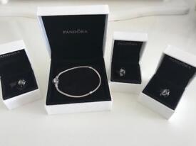 100% Genuine Pandora 19cm Bracelet and 3 Pandora charms. Boxed