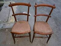 Chairs - 2 Quality Stylish Wooden and Studded Design Seat Retro Vintage Chairs