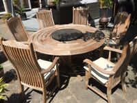 Teak 6 seater dining table and chairs