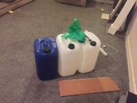 Water containers and live rock