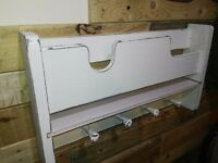 Fully Restored Shabby Chic Coat Hanger With Shelf