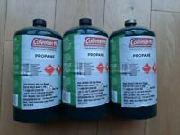 Coleman Stove Camping Gas Cylinders. 2 New, 1 half-used