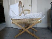Moses basket with stand and Nappy bin