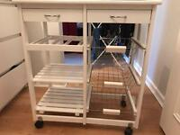 Solid wood kitchen trolley with shelves and two drawers - £15