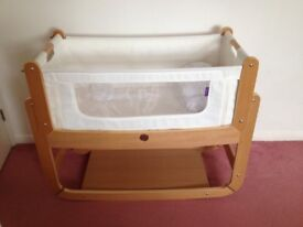 SnuzPod 2 bedside crib in natural with bedding