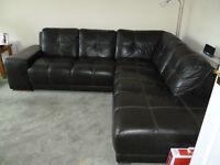 Corner suite in brown italian leather
