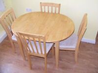 CAN DELIVER - SPACE SAVER SOLID WOOD EXTENDING DINING TABLE + 4 CHAIRS - GREAT CONDITION